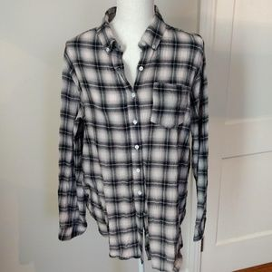 Navy and white Plaid Button Down Shirt